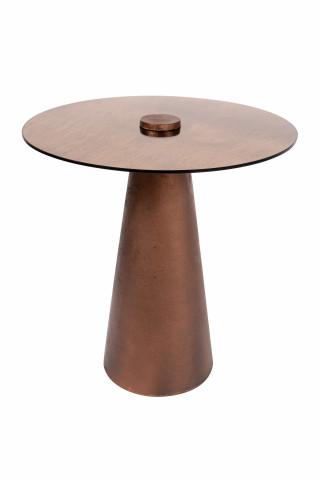 Masuta de cafea rotunda din metal si sticla Scotch 45x45x48 cupru