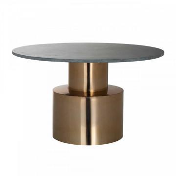 Masuta de cafea rotunda din piatra si metal Hogan 77x77x43.5 cm auriu/verde