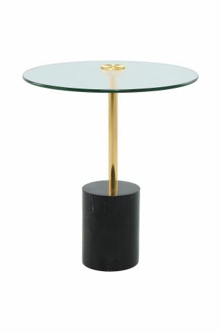 Masuta de cafea rotunda din sticla si marmura Rosario 44x44x50 cm transparenta/negru/auriu