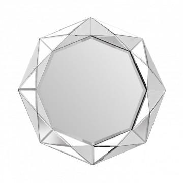 Oglinda cu rama din sticla argintie Heracles, 5cm (L / D) x 80cm (l) x 80cm (H)