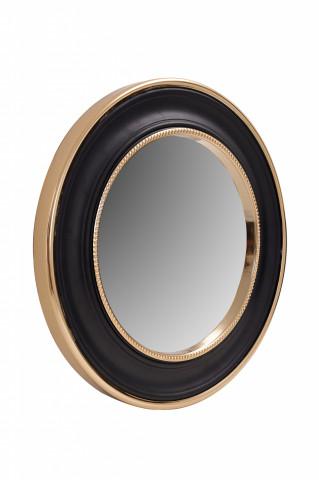 Oglindă rotunda cu rama din fier si MDF negru/auriu 4x45x45 cm
