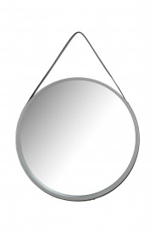 Oglinda rotunda cu rama din MDF gri Ultima, 3,5-7,5cm (L / D) x 49,5cm (W) x 49,5cm (H)