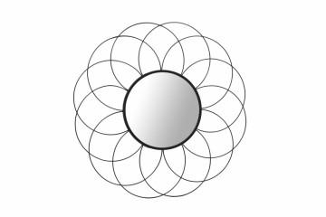 Oglinda rotunda cu rama din metal neagra Phantoma, 2cm (L / D) x 79,5cm (W) x 79,5cm (H)