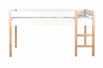 Pat mansaradat cu scara din pin/MDF alb, 99x210x118 cm