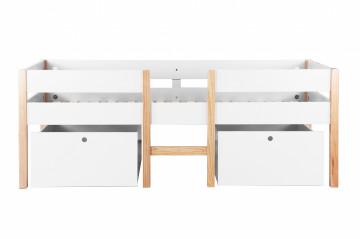 Pat mansardat pentru copii cu scara si sertare din MDF si pin alb 210x99x80 cm