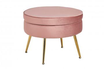 Puf/Taburet din catifea roz