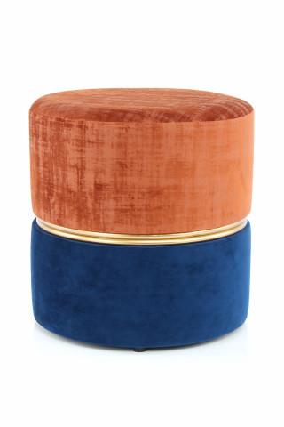 Puf/ Taburet tapitat Cleopatra ruginiu/albastru