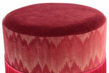 Puf/ Taburet tapitat cu franjuri Cleopatra Bordeaux