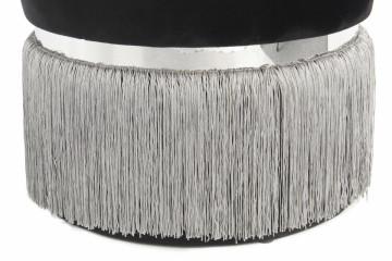 Puf/ Taburet tapitat cu franjuri Rebecca negru / gri / argintiu
