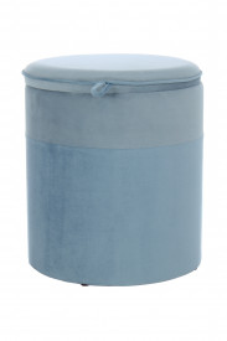 Puf/ Taburet tapitat cu spatiu pentru depozitare Kassandra albastru deschis/albastru