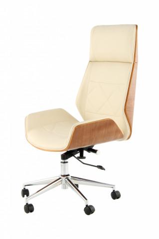 Scaun birou rotaiv din piele artificiala cu carcasa din lemn Maleko bej