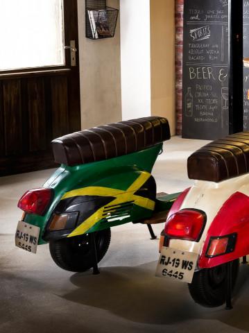Scaun de bar scuter din imitație de piele This & That verde cu steag Jamaica