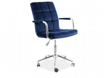 Scaun de birou din catifea albastru