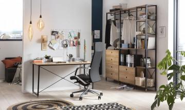 Scaun de birou din piele artificiala rotativ negru