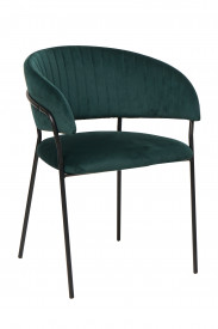 Scaun din catifea cu spatar matlasat verde