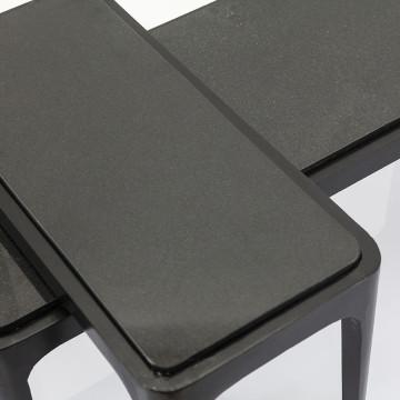 Set 2 masute de cafea dreptunghiulare din metal Wayne 90x35x38 cm negre