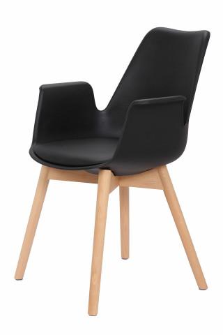 Set 2 scaune cu perna Chaplin negre