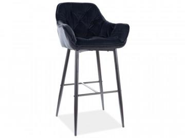 Set 2 scaune de bar din catifea Cherry negre 76 x 56 x 40 cm
