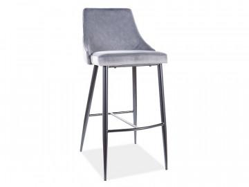 Set 2 scaune de bar din catifea Piano gri 75 x 47 x 42 cm