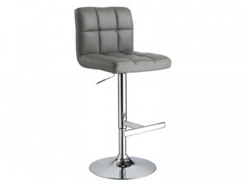 Set 2 scaune de bar din piele ecologica cu cadru metalic gri /argintiu