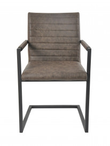 Set 2 scaune din piele artificiala maro inchis