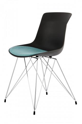 Set 2 scaune Emily negru/petrol