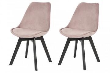 Set 2 scaune tapitate cu aspect catifelat Cleo Rose