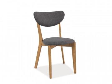 Set 2 scaune tapitate cu cadru de lemn Andre gri/maro