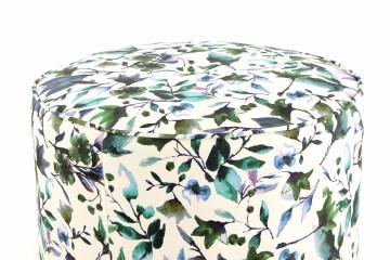 Set 2 tabureti tapitati cu imprimeu floral Indira multicolori/albi