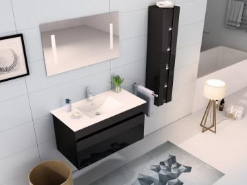 Set 3 piese mobilier pentru baie, negru, 90 cm