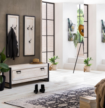 Set 3 piese mobilier pentru hol din lemn de mango White Panama