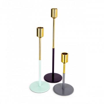 Set 3 suporturi lumanare din metal Saga, auriu mint/pruna/gri