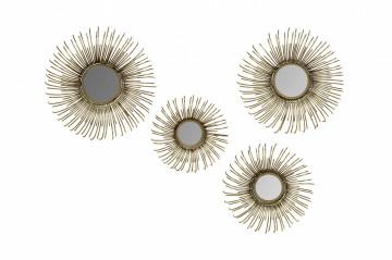 Set 4 oglinzi rotunde cu rama din fier Duke, auriu