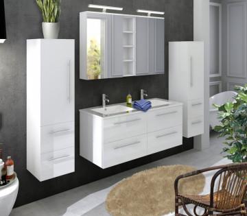 Set 4 piese mobilier pentru baie, alb, 120 cm