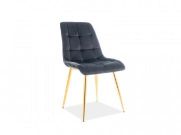 Set 4 scaune din catifea Chic negru/auriu