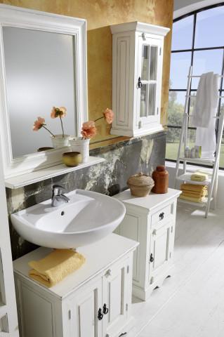 Set 5 piese de mobilier pentru baie din lemn de mango si MDF Toledo alb
