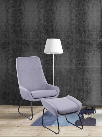 Set fotoliu cu taburet tapițat Sit&Chairs gri dechis