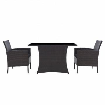 Set masa cu 2 scaune din poliratan pentru gradina maro