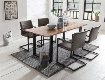 Set masa dreptunghiulara din lemn de salcam cu 4 scaune din piele artificiala maro inchis 180x90 cm