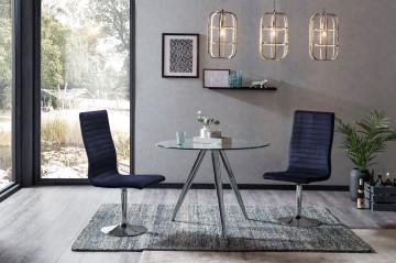 Set masa rotunda cu blat din sticla si 4 scaune din catifea albastre 100 cm