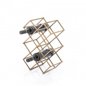 Suport pentru vin din fier Burly auriu, 8 sticle