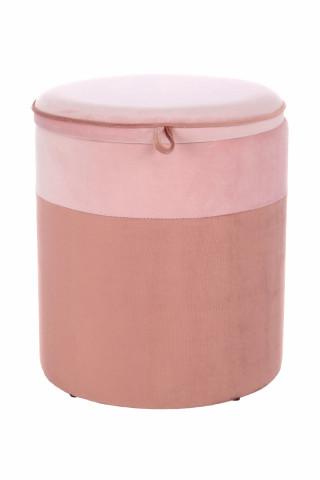 Taburet tapitat cu spatiu pentru depozitare Kassandra roz