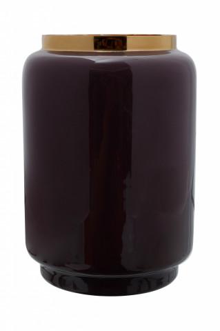 Vaza din fier Art Deco, violet inchis / auriu 14,5x14,5x20 cm