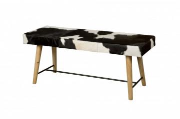 Bancheta din lemn cu scaun acoperit cu blanā alb/negru