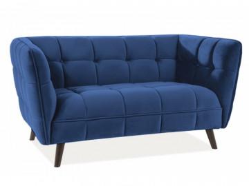 Canapea din catifea Castello albastra, 2 locuri