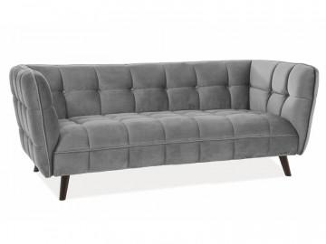 Canapea din catifea Castello gri, 3 locuri