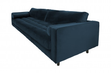 Canapea din catifea Miller, 3 locuri, albastra 100x225x84 cm