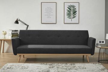 Canapea extensibila tapitata neagra, 3 locuri
