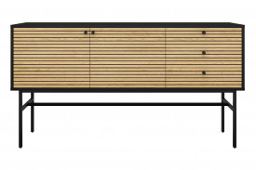 Comoda din MDF si furnir de stejar 160x40x85 cm negru/maro