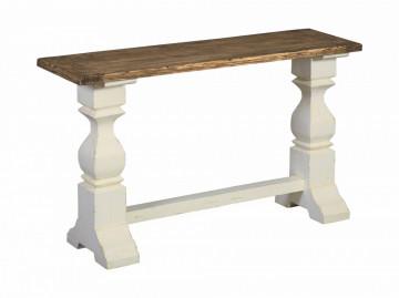 Consola din lemn 145x40 cm alb/maro